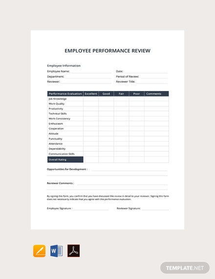 free employee performance review template word