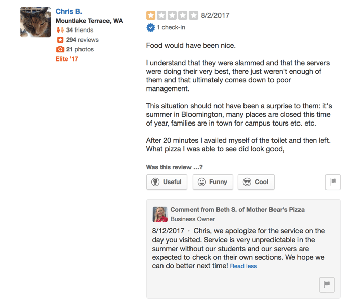 example response to a bad restaurant review