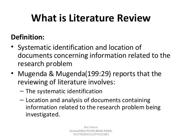 what is meant by literature review