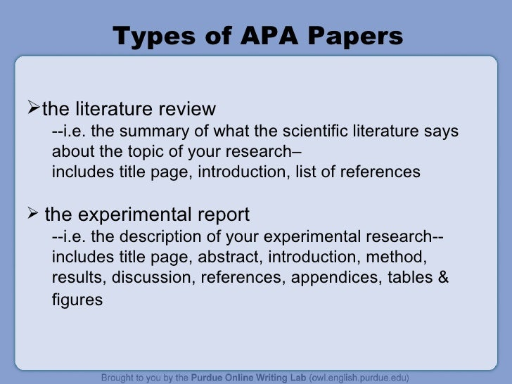 example of apa literature review 6th edition