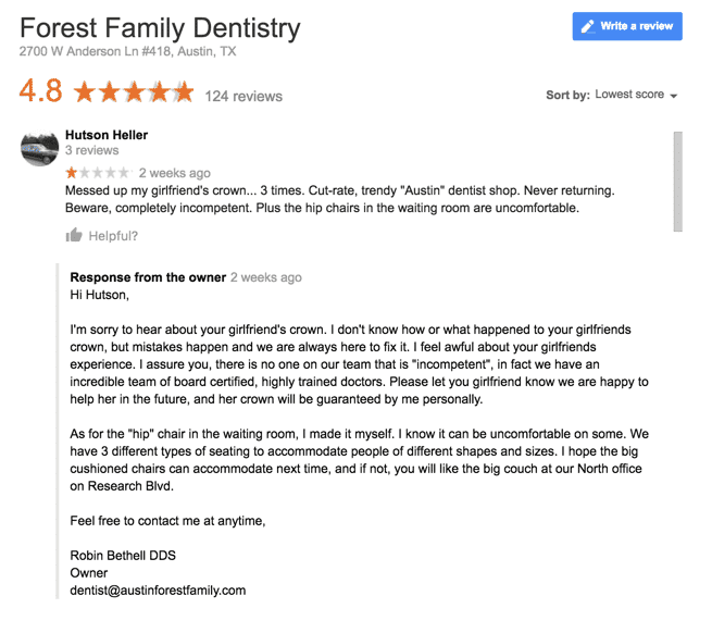 good review for dentist examples