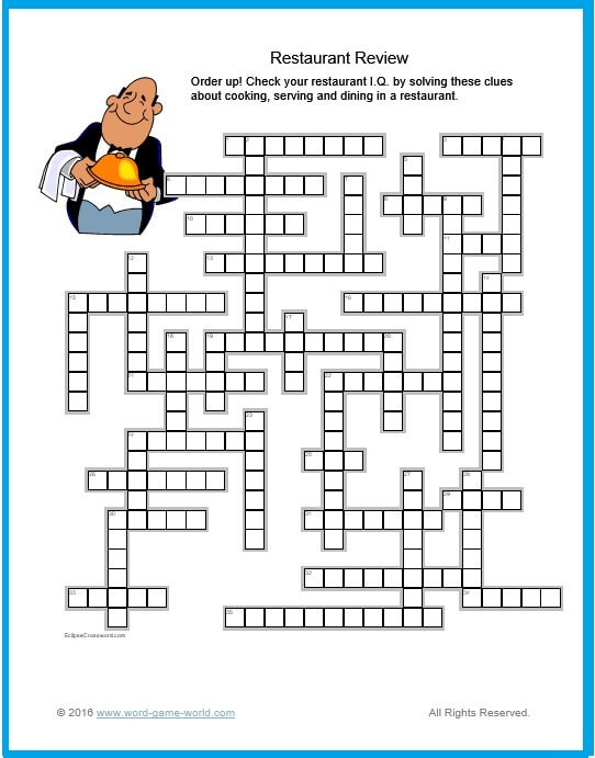 factor in a restaurant review crossword