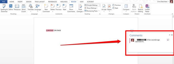 how to review a word document 2013
